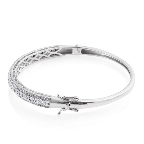 Limited Edition - Designer Inspired - Diamond (Rnd) Bangle (Size 7.5) in Platinum Overlay Sterling Silver 1.000 Ct.