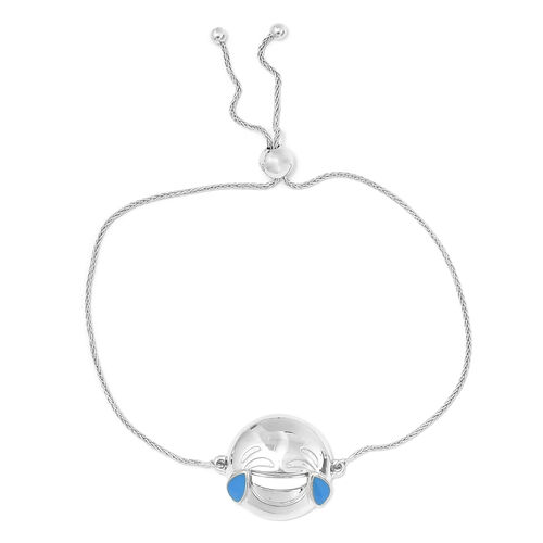 Face with Tears of Joy Smiley Silver Bolo Bracelet (Size 6.5 - 8) in Platinum Overlay
