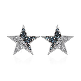 Diamond (Bgt and Rnd) Star Earrings (with Push Back) in Platinum Overlay Sterling Silver 0.500 Ct.