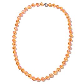 Champagne AB Glass Beaded Necklace in Stainless Steel 28 Inch