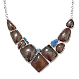 One Off A Kind- Boulder Opal Rock and Opal Double Necklace (Size 18 with 1 inch Extender) in Sterling Silver 227.000 Ct. Silver wt. 26.00 Gms.