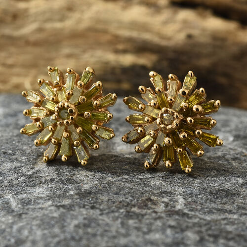 Treated Yellow Diamond (Rnd and Bgt) Snow Flake Earrings (with Push Back) in 14K Gold Overlay Sterling Silver.