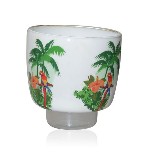 Home Decor - Flower, Tree and Parrot Printed Multi Purpose Glass Hurricane Vase (Size 5x5 inch)