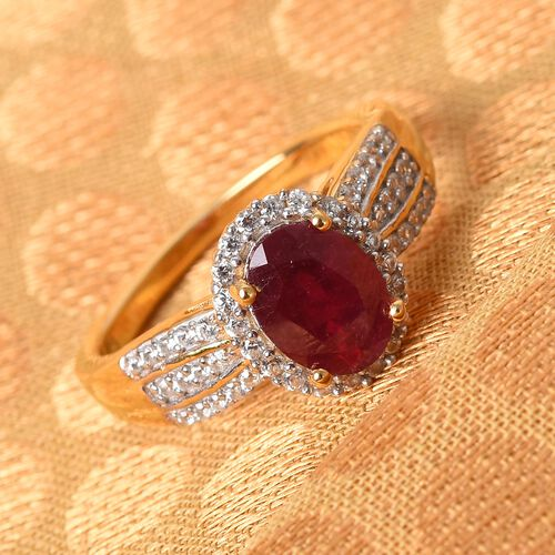 AA African Ruby and Natural Cambodian Zircon Ring in 14K Gold Overlay Sterling Silver 1.84 Ct.