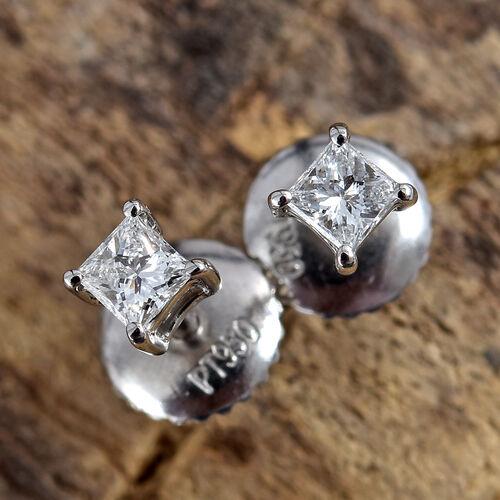 RHAPSODY 950 Platinum IGI Certified Diamond (Sqr) (VS/E-F) Stud Earrings (wih Screw Back) 0.200 Ct.