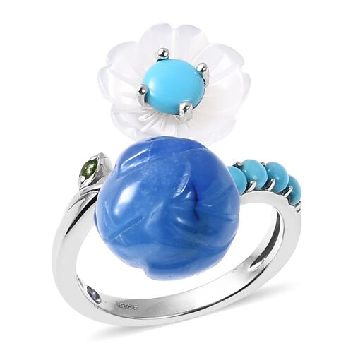 GP Blue Jade, Arizona Sleeping Beauty Turquoise and  Multi Gemstone Flower and Bud Bypass Ring in Rh