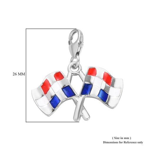 Charms De Memoire - Platinum Overlay Sterling Silver Enamelled Checkered Flag Charm