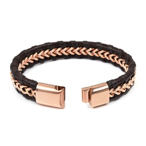 Designer Inspired- Brown Genuine Leather Bracelet (Size 8.5) in Pink Plated Stainless Steel