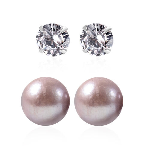 Set of 2 - Simulated Diamond and Anhui Purple Pearl Stud Earrings (with Push Back) in Rhodium Overla