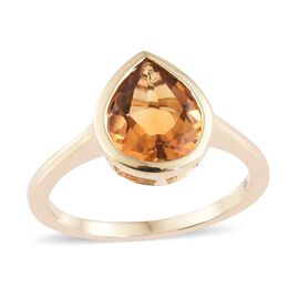 9K Yellow Gold AA Citrine (Pear 1.75 Ct) Solitaire Ring 1.750 Ct.