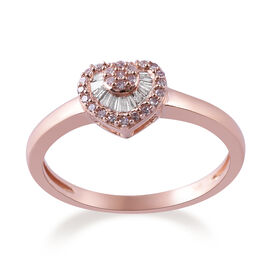 9K Rose Gold White and Natural Pink Diamond Heart Ring 0.202 Ct.