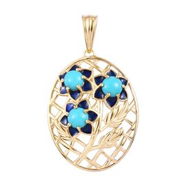 Arizona Sleeping Beauty Turquoise Enamelled Floral Pendant in 14K Gold Overlay Sterling Silver 1.50