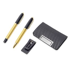 4 Piece Set - 2 Pen, 1 Money Clip and 1 Card Holder (Size 14x1.8 Cm) - Black and Gold