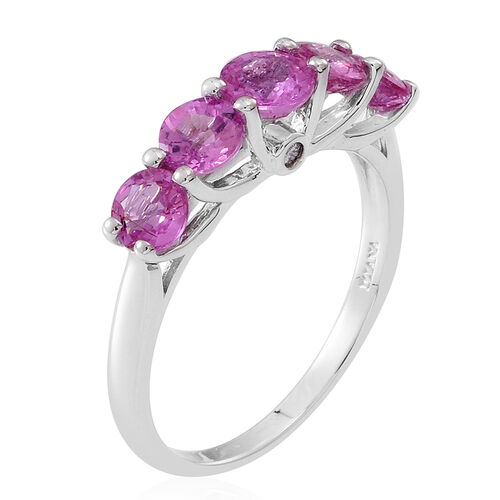 ILIANA 18K White Gold AAA Pink Sapphire (Rnd 0.60 Ct), Diamond (SI/G-H) Ring 2.500 Ct.
