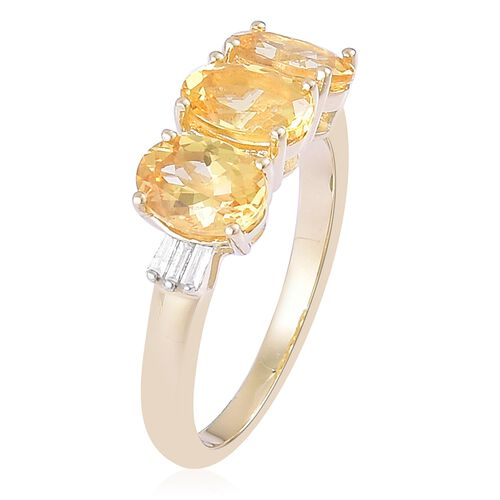 Collectors Edition-9K Yellow Gold AAA Imperial Topaz (Ovl 2.75 Ct), Diamond Ring 2.850 Ct.