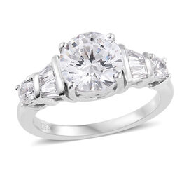 J Francis Made with Swarovski Zirconia Solitaire Style Ring in Platinum Plated Sterling Silver