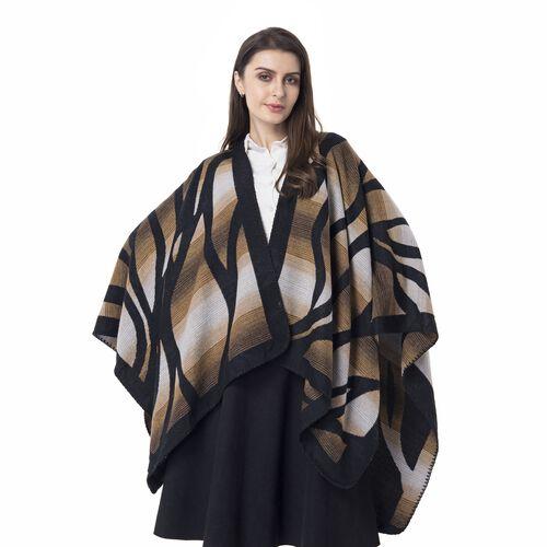 Yellow and Black Colour Raised Grain Pattern Blanket Kimono (Size 133x70 Cm)