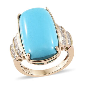 Limited Edition- 9K Yellow Gold AAA  Arizona Sleeping Beauty Turquoise (Cush), Diamond  Ring 12.500 Ct, Gold wt 5.00 Gms