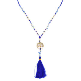 Designer Inspired- Tanzanite Tree of Life Tassel Necklace (Size 32) with Faceted Glass Beads