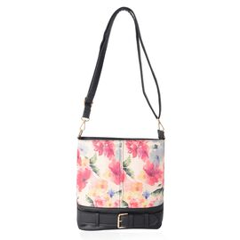 Beige and Multi Colour Floral Pattern Crossbody Bag Size 24.5x20x5 Cm
