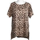 SUGARCRISP 100% Cotton Leopard Print Short Sleeve Top (Size 14) - Brown