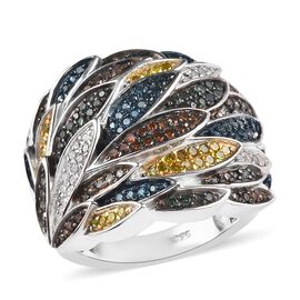 1 Ct Designer Inspired Rainbow Diamond Cluster Ring in Platinum Plated Silver 10 Grams