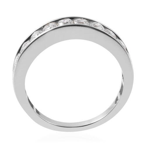 ILIANA 18K White Gold IGI Certified Diamond (Rnd) (SI/G-H) Half Eternity Band Ring 1.000 Ct.