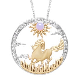 Opalite and White Austrian Crystal Horse Pendant with Chain (Size 24) in Gold Tone and Plain Stainle