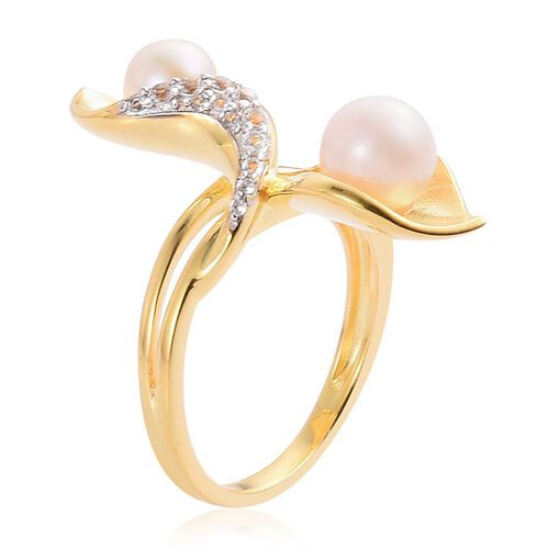 Japanese Akoya Pearl (Rnd 2.25 Ct), White Topaz Ring in Yellow Gold Overlay Sterling Silver 3.500 Ct.