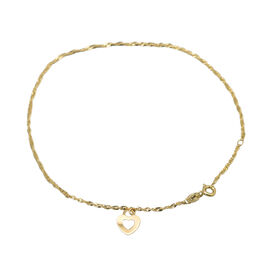 9K Yellow Gold Heart Charm Twist Curb Chain Anklet (Size 9-10) ,  Gold Wt. 1.20 Gms