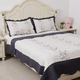 King Size Quilt with Embroidered Leaf and Flowers, White, Black and Grey with 2 Pillow Shams (Size 240x260 + 2 X 50x75 cm)