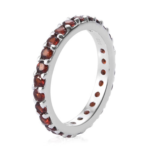 Mozambique Garnet (Rnd) Full Eternity Band Ring in Sterling Silver 1.500 Ct.
