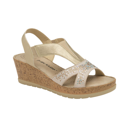 Dunlop Whitson Elastic Wedge Heeled Sandals (Size 4) - Pale Gold