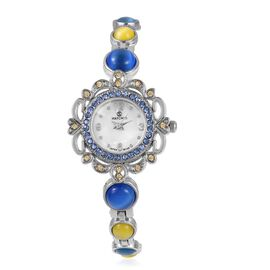 STRADA Japanese Movement Water Resistant Bracelet Watch Studded with Simulated Blue and Yellow Cats