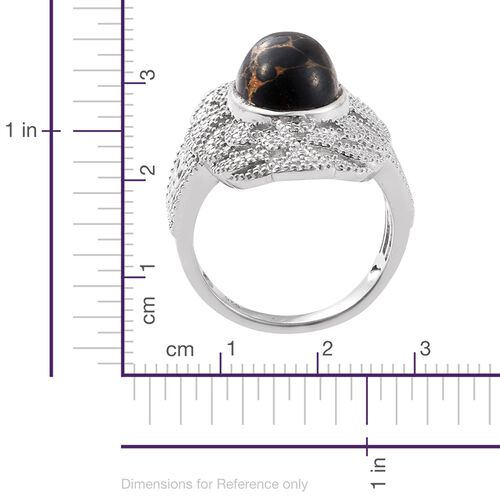 Arizona Mojave Black Turquoise (Ovl) Ring in Platinum Overlay Sterling Silver 6.000 Ct.
