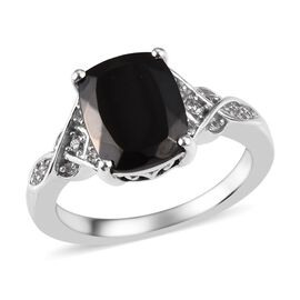 Elite Shungite (Cush 10x8 mm), Natural Cambodian Zircon Ring in Platinum Overlay Sterling Silver 2.0