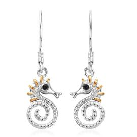 Boi Ploi Black Spinel Seahorse Hook Earrings in Platinum and Yellow Gold Overlay Sterling Silver