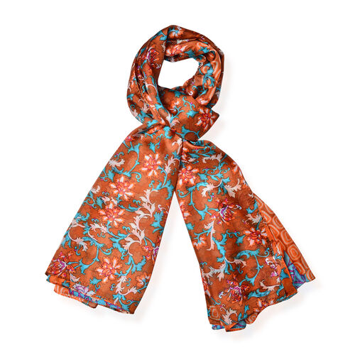 100% Mulberry Silk Brown, Orange and Multi Colour Scarf (Size 170x110 Cm)