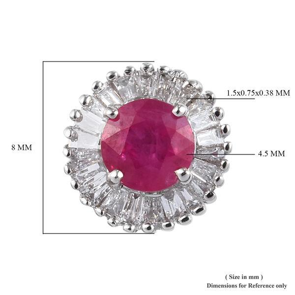 RHAPSODY 950 Platinum AAAA Natural Burmese Ruby and Diamond Stud Earrings 1.25 Ct.