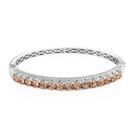 J Francis - Crystal From Swarovski Light Colorado Topaz Crystal (Rnd) Bangle (Size 7.5) in Silver Pl