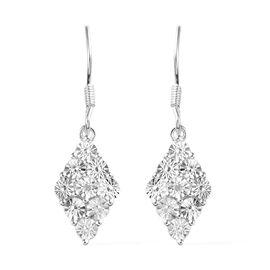 Diamond (Rnd) Hook Earrings in Sterling Silver, Silver wt 4.00 Gms