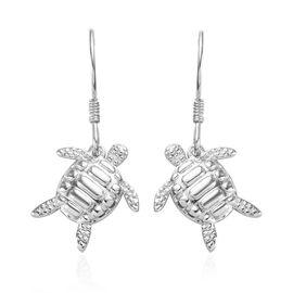 Platinum Overlay Sterling Silver Turtle Hook Earrings