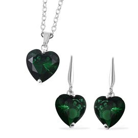 2 Piece Set - Simulated Emerald (Hrt) Hook Earrings and Pendant with Chain (Size 18 with 2 inch Exte