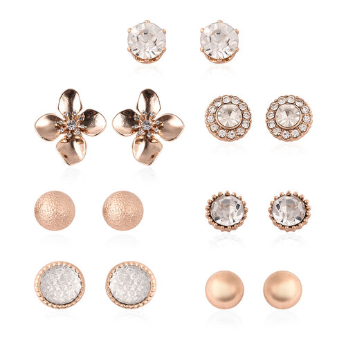 9 Pair of Earring - White Austrian Crystal Earrings in Yellow Gold Plated