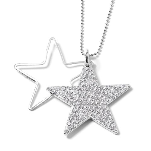 Designer Inspired-White Austrian Crystal (Rnd) Star Pendant With Chain (Size 28 with 2.50 inch Extender) in Silver Plated.