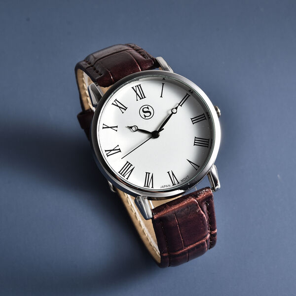Personalised Engravable STRADA Japanese Movement Watch with Gold Tone and Brown Strap