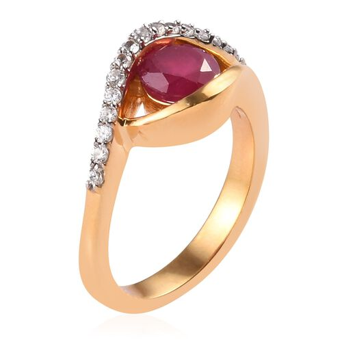 African Ruby and Natural Cambodian Zircon Ring in 14K Gold Overlay Sterling Silver 1.25 Ct.