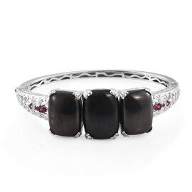 Elite Shungite (Cush 15.25 Ct), Rhodolite Garnet Bangle (Size 7.5) in Platinum Overlay Sterling Silv