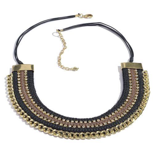 Jewels of India Black and Brown Thread and Zircon Gold Plated Brass Choker Necklace (Size 9 with 3 i