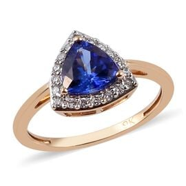 9K Yellow Gold AAA Tanzanite and Diamond Ring 1.50 Ct.